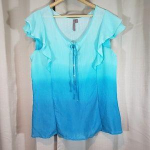 Brina & Em | XL Top | Blue Ombre Cap Sleeve Blouse